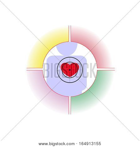 Vector illustration. The emblem logo. The heart of man at gunpoint. Healthy lifestyle. human contour. Four distinct sections of different colors.