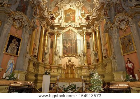 VILNIUS, LITHUANIA - DECEMBER 30, 2016: The Rococo interior of St Theresa's Church
