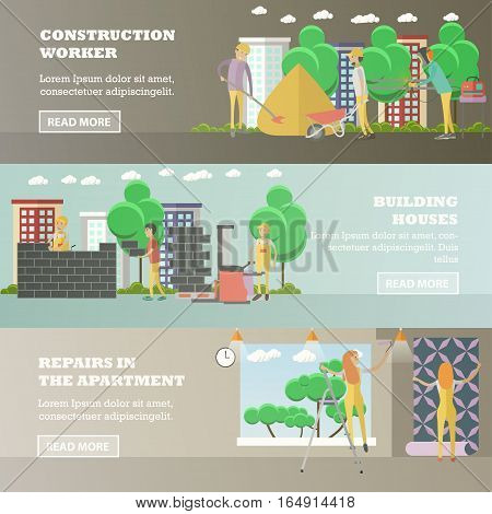 Vector set of residential construction concept horizontal banners. Construction worker, building houses, repairs in the apartment design elements in flat style.