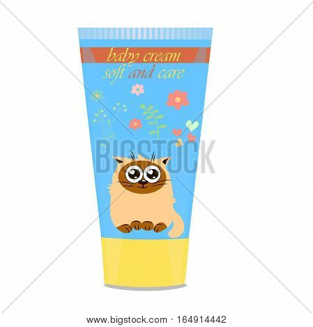 High quality original trendy vector Baby cream tube with kids design and cat on floral background illustration