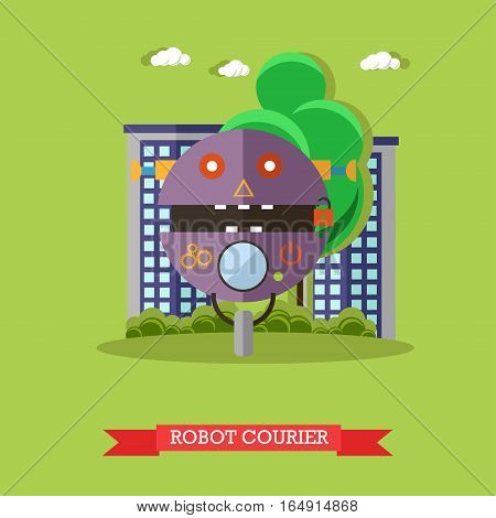 Vector illustration of robot courier. Technology concept design element, icon in flat style.