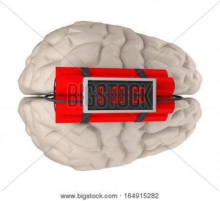 brain with time bomb isolated on white 3d rendering