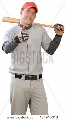 Baseball Player Holding Bat and Showing Thumbs Up - Isolated