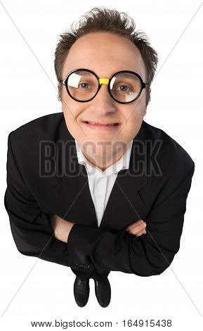Young Man With Glasses In Suit Standing With Arms Folded Top-down View - Isolated