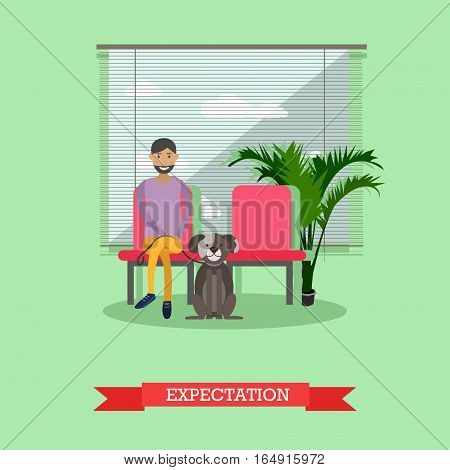 Vector illustration of man sitting in waiting hall with his pet dog. He is expecting for visiting doctor. Vet clinic services concept design element in flat style.
