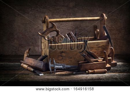 Still Life - Old Wooden Tool Box