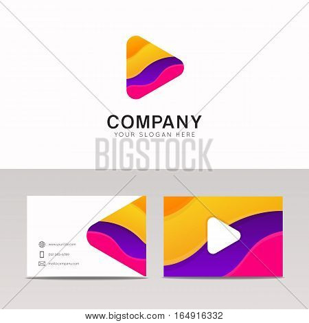 Abstract Funny Media Company Logo Icon Sign With Brand Business Card