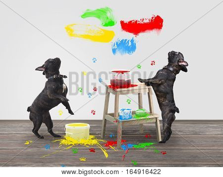 Funny dog standing on its hind legs. Repair jars of bright paint. Colorful traces of the paws of animals