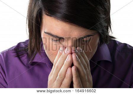 Portrait of Man Sneezing / Thinking / Praying