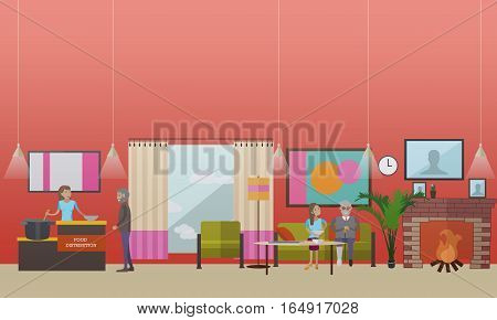 Vector illustration of volunteers women helping elderly lonely people with food. Voluntary organizations services concept design element in flat style.