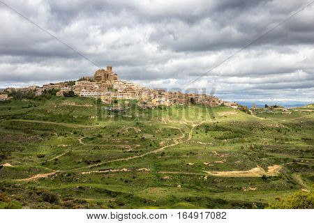 View on the town Ujue and it's 12th century fortified church in Navarre Spain