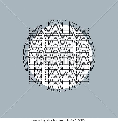 Abstract geometric digital monochrome composition vector background.