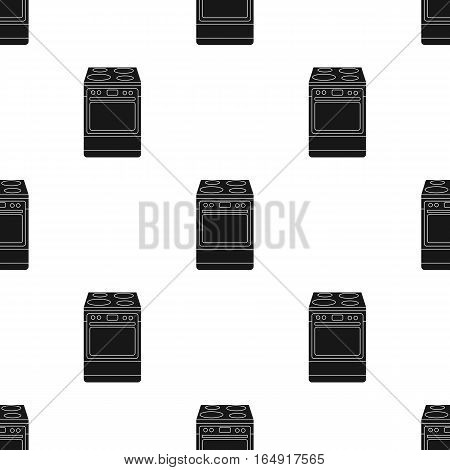Kitchen stove icon in black style isolated on white background. Kitchen pattern vector illustration.