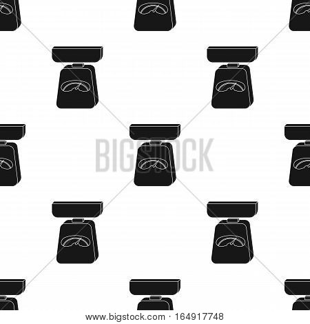 Kitchen scale icon in black style isolated on white background. Kitchen pattern vector illustration.