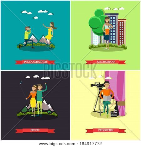 Vector set of photo and video concept posters, banners. Photographer, Anchorman, Selfie and Producer design elements in flat style.
