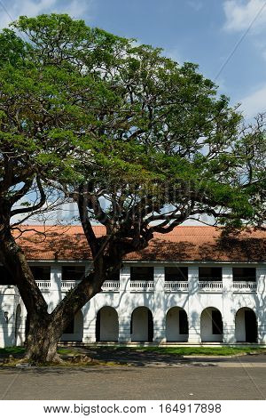 Colonial fine condition building of the fort Galle on Sri Lanka. The photograph is presenting old house in fort Galle Sri Lanka