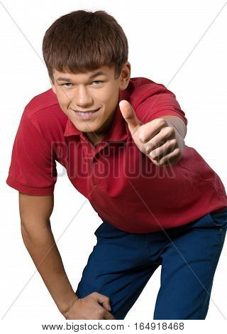 Teen male preppy leaning over giving thumbs up