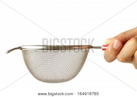 Stainless Mesh Strainer Hand Holding on white background