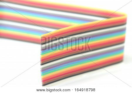 Multi Color Ribbon Cable Strip Macro Close up