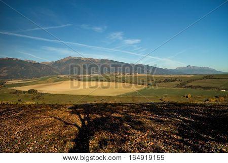 View at the hills Baranec and Krivan from Haj - Nicovo Liptovsky Mikulas.
