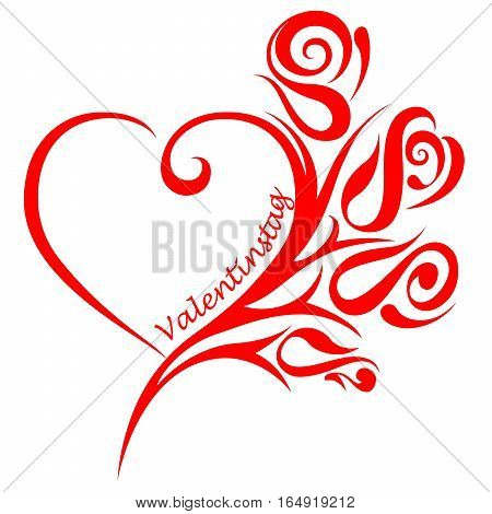 Heart and ornament and the german word for valentine`s day (Valentinstag), isolated on white