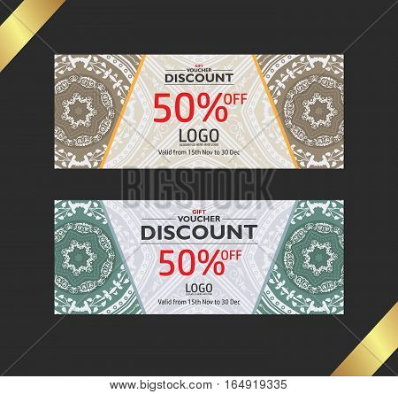 Premium gift voucher template. Gift voucher discount copon.