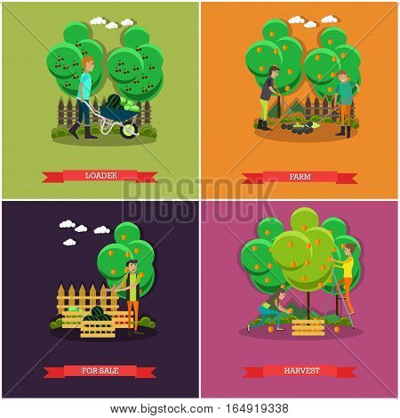 Vector set of gardening and farming concept posters, banners. Loader, Farm, For sale and Harvest design elements in flat style.