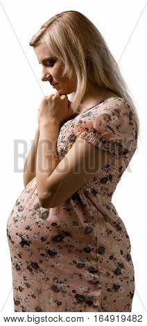 Portrait of a Worried / Sad Pregnant Woman