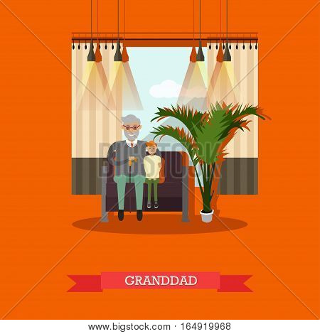 Vector illustration of granddad with his grandson sitting on sofa. Family concept design element in flat style.
