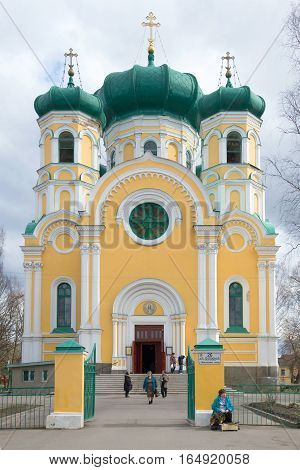 GATCHINA, RUSSIA - APRIL 24, 2016: Cathedral of the Saint apostle Pavel in the cloudy April afternoon. Leningrad region. Religious landmark of the Gatchina