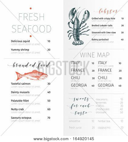 Vector set for seafood restaurant branding. Flyer brochure banner. Hand drawn vintage elements. Engraved Salmon lobster. octopus squid crab caviar fillet and clams