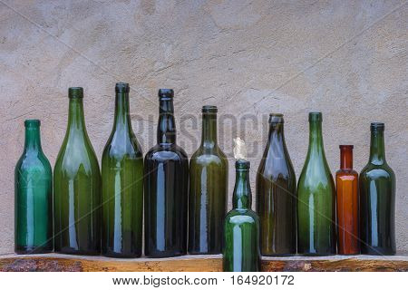The old empty bottles of alcohol and beer