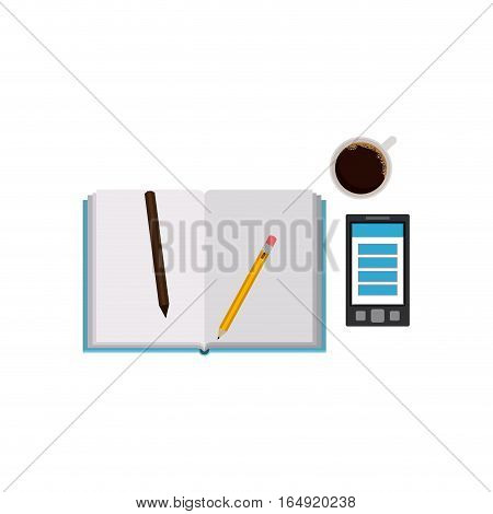 Agend pencils smartphone and coffee mug icon. Notebook book directory and information theme. Isolated design. Vector illustration