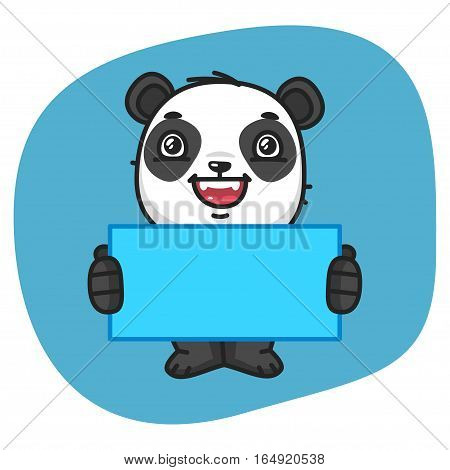 Vector Illustration, Panda Holding Blank Sheet Paper, Format EPS 8