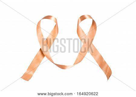 World Cancer Day ribbon isolated on white background