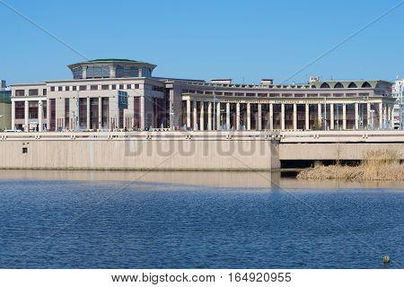 KAZAN, RUSSIA - MAY 02, 2016: The building of the Kazan (Volga region) Federal University, Sunny may day. View from the lake Nizhny Kaban
