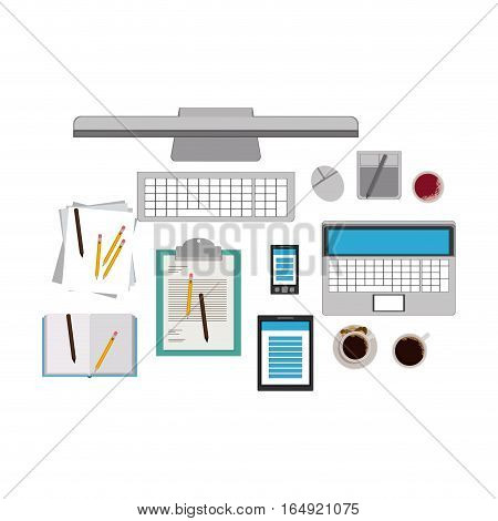 Computer laptop tablet and smartphone icon. Device gadget technology and electronic theme. Isolated design. Vector illustration