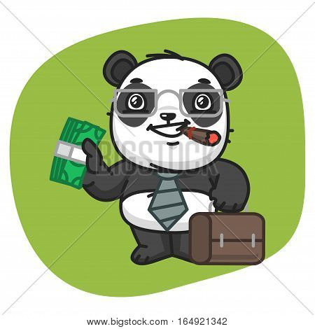 Vector Illustration, Panda Holds Suitcase and Money, Format EPS 8