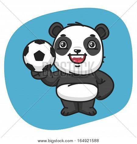 Vector Illustration, Panda Holds Soccer Ball, Format EPS 8