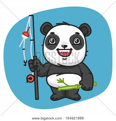 Vector Illustration, Panda Holds Fishing Rod, Format EPS 8