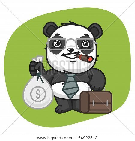 Vector Illustration, Panda Holds Suitcase and Bag of Money, Format EPS 8