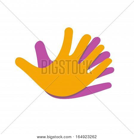 Vector sign Hands together for friendship, isolated illustration on white