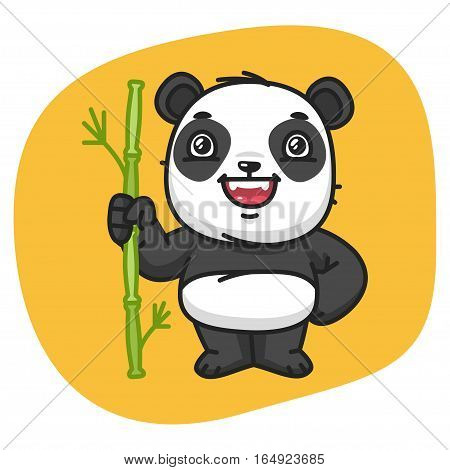 Vector Illustration, Panda Holds Stalk Bamboo, Format EPS 8
