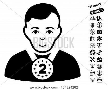 2nd Prizer Sportsman icon with bonus flying drone tools design elements. Vector illustration style is flat iconic black symbols on white background.