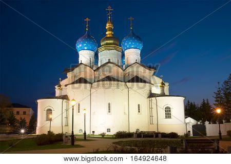Annunciation Cathedral in the Kazan Kremlin on may night. Kazan, Russia