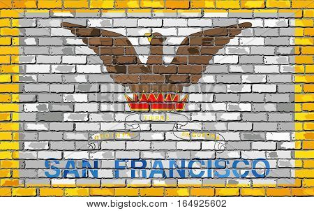 Flag of San Francisco on a brick wall - Illustration,  San Francisco flag in brick style