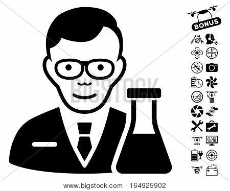 Chemist pictograph with bonus nanocopter service pictures. Vector illustration style is flat iconic black symbols on white background.