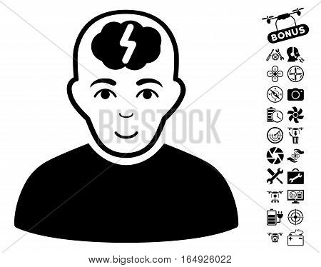 Clever Boy icon with bonus nanocopter tools graphic icons. Vector illustration style is flat iconic black symbols on white background.