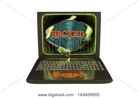 Computer hacking, conceptual image. 3D illustration showing bursting of laptop screen and hacked word, isolated in white background