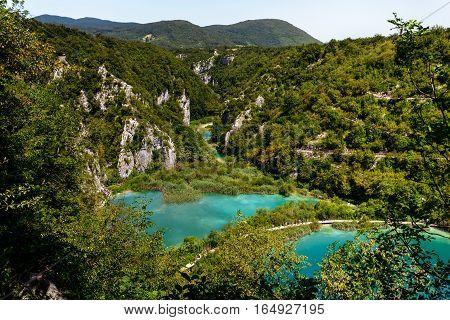 Top view of the lake near the Falls Sastavtsi in Plitvice Lakes National Park.